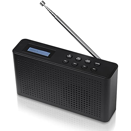 GEQWE Radio FM, Dab/Dab Digital + Y Radios Dab Portátiles De Red Y con Pilas Radio Digital Recargable con Carga USB, Negro