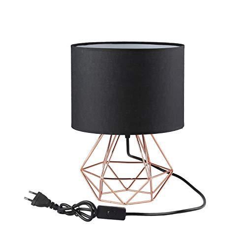 FRIDEKO HOME Lámpara de mesa vintage – 25 cm DIY lámpara de mesa moderna estilo de copa estilo creativo para dormitorio, lámpara de noche, despacho, oficina [versión mejorada] negro y oro rosa