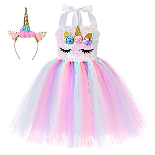 Cuteshower Girl Unicorn Costume, Baby Unicorn Tutu Dress Outfit Princess Party Costumes with Headband (7-8 Years, Rainbow Color)