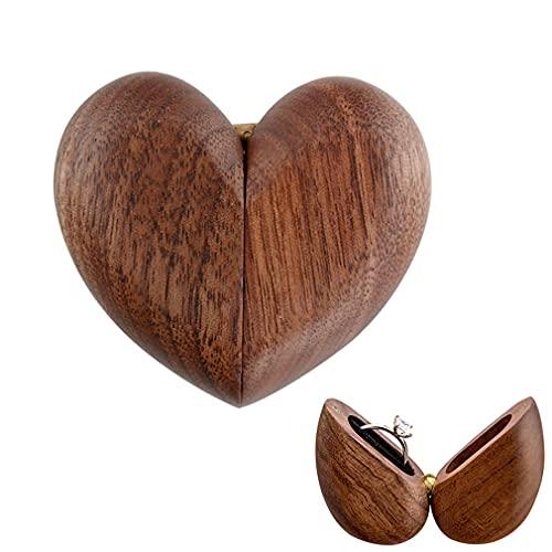 Pequeño anillo de joyería de madera vintage con forma de corazón, caja magnética de compromiso, caja de regalo para regalos (imán único)
