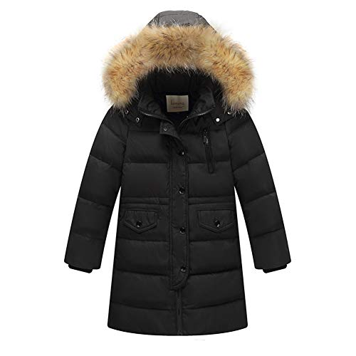 Daunenjacke Kinder Winterjacke Jungen Wintermantel Mädchen Daunenmantel mit Kaputze Warm Outdoorjacke Schwarz 160