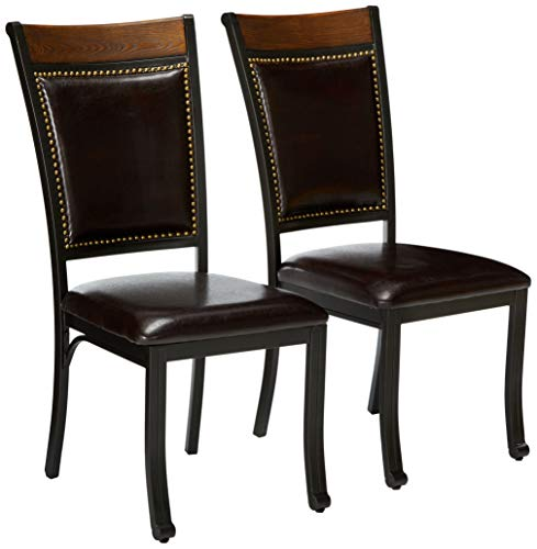 Powell Furniture Franklin - Juego de 2 sillas de comedor de metal y piel sintética con clavos de madera, color marrón oscuro