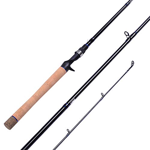 Fiblink Carbon Baitcasting Rod Portable Bass Fishing Rod Fuji Guides Casting Rod 2-Piece & 3-Piece Crank Bait Rod(3-Piece, 7'9'- Medium Heavy)