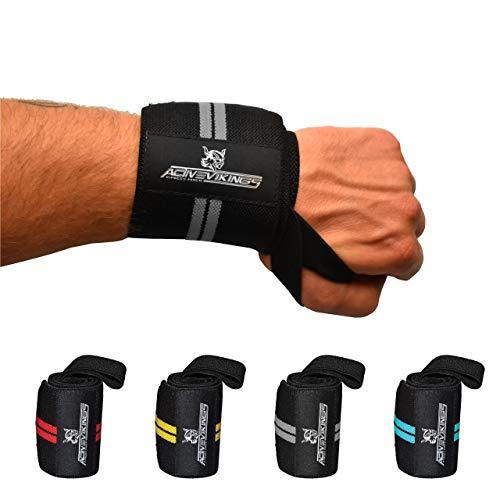 ActiveVikings® Handgelenk Bandagen - Ideale Handgelenkbandagen für Fitness, Crossfit, Bodybuilding und Kraftsport - Für Frauen und Männer (Schwarz - Grau)