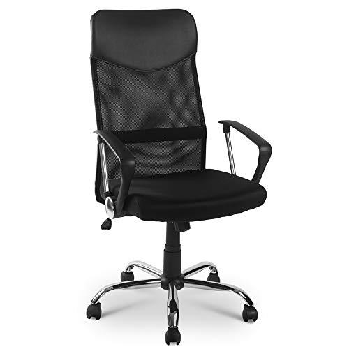 Silla de escritorio ergonómica con soporte lumbar ajustable, reposabrazos, altura regulable y función de balancín, respetuosa con la espalda, soporta hasta 120 kg.