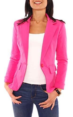 Easy Young Fashion Damen Sommer Sweat Jersey Blazer Jacke Sweatblazer Jerseyblazer Sakko Kurz Gefüttert Langarm Uni Einfarbig Pink XS - 34...