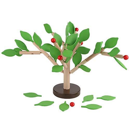 Simlug Juego de Juguetes de Aprendizaje para niños, Bloques de construcción de Madera Juego de árboles DIY Puzzle 3D Juguetes ensamblados de Madera(Hoja Verde)
