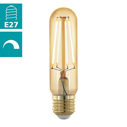 EGLO LED E27 dimmbar, Golden Vintage Glühbirne in Röhrenform, Retro Beleuchtung, 4 Watt (entspricht 30 Watt), 320 Lumen, E27 LED warmweiß, 1700 Kelvin, LED Leuchtmittel, Edison Glühbirne T32, Ø 3,2 cm