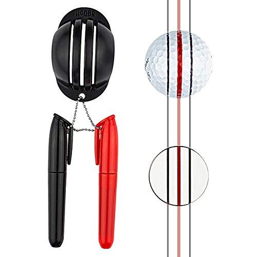 59Golf - Bola de Golf Marcador de Triple línea + marcadores permanentes (Rojo y Negro + ficha de póker)