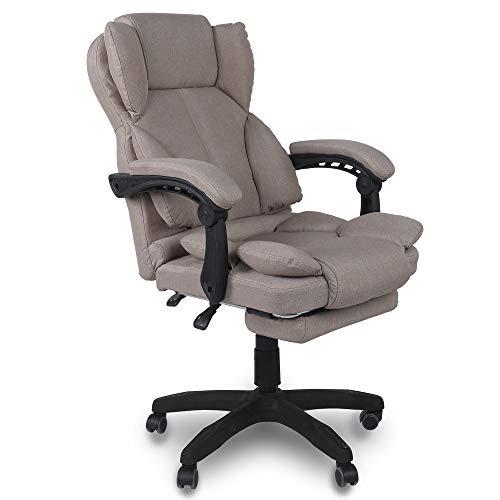 Trisens Bürostuhl, ergonomischer Schreibtischstuhl Chefsessel mit gepolsterten Armlehnen und Kopfunterstützung, Höheverstellbar 360°Bürodrehstuhl Stoff Drehstuhl, Farbe:Taupe