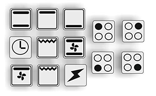 Generisch EIN Set mit 13 Stück Herd Aufkleber E Herd Beschriftung Ofen Koch Schalter Zeichen Symbole (R29/1) (Nr.3 Schwarze Symbole auf transparenten Grund, 10x10mm)