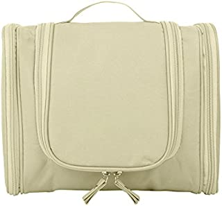 Hanging Toiletry Bag-Travel Organizer Cosmetic Make up Bag case for Women Men Kit with Hanging Hook for vacation (Beige)