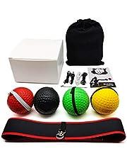 XIANLIAN Rflex Ball Set, Rflex Ball Upgraded Set-PU/1 o 2 Piezas de Diadema elástica con Hebilla en Forma de 8 y 4 Bolas y 4 Cuerdas de Repuesto y 1 enhebrador y Bolsa de Almacenamiento y Manual