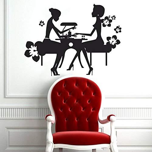 Salón de uñas, calcomanía de pared, salón de belleza, manicura, arte, chica, Mural, vinilo, pegatina de pared, flor de moda, decoración de vidrio para ventana