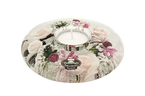 Moderner Teelichthalter Windlichthalter aus Glas mit Rosen und Herzen Durchmesser 13 cm *Exklusive Handarbeit*