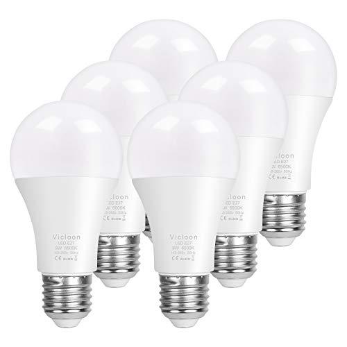 Vicloon A60 Bombilla LED E27, 9W equivalente a 100W, 1000LM 6500K Blanco Fría E27 Lámpara LED, No Regulable, Angulo de haz de 200°, AC 165-265V - 6 Unidades [Clase de eficiencia energética A+]