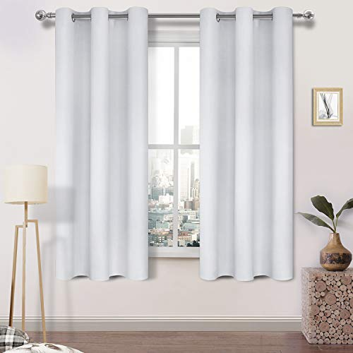 DWCN Blackout Curtains Room Darkening Thermal Insulated Grommet Window Curtain for Bedroom Living Room 38 x 72 Inch 2 Panels, Greyish White Thick Curtain