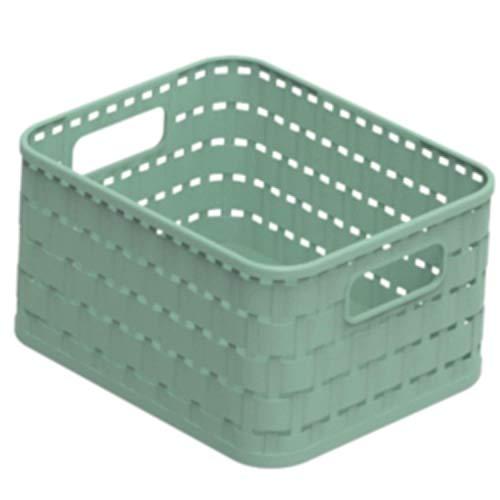 Rotho Country Aufbewahrungskorb 2l in Rattan-Optik, Kunststoff (PP recycelt) BPA-frei, grün, A6/2l (18,3 x 13,7 x 9,8 cm)