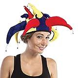 P'tit Clown 91063- Sombrero de bufón, terciopelo, con cascabeles en las puntas, adulto, multicolor