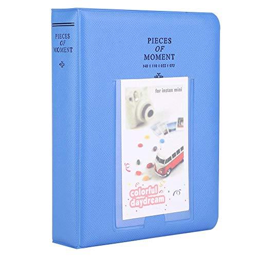 Mini fotoalbum 16 pagina's, fotoboek prentenboek kleine fotokoffer voor 96 Instax mini foto's, 10x10x10cm (zeeblauw)