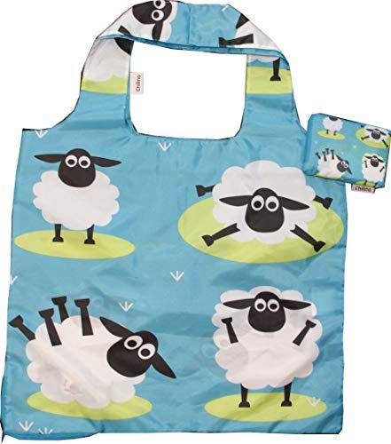 Chilino Schaf Faltbare Einkaufstasche, groß und stabil, umweltfreundlich, blau, 47 x 41 cm