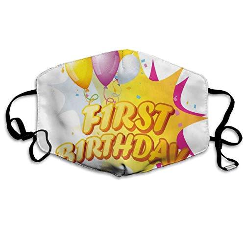mundschutz Atmungsaktive Gesichtsbedeckung Mundbedeckung Staubdichte Kleinkind-Erstparty-Feier mit Zitat und Luftballons Kinder-Design, Gesichtsdekorationen