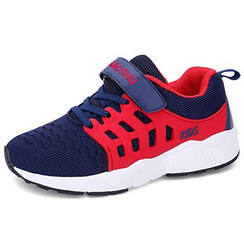 Youecci Turnschuhe Kinder Sportschuhe Jungen Hallenschuhe Mädchen Atmungsaktiv Laufschuhe Outdoor Fitnessschuhe Sneaker für Unisex-Kinder Blau 36 EU