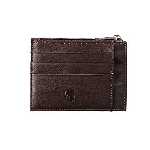 DV Porta carte di credito Uomo in Pelle Nappa Sottile con Cerniera Zip Portamonete 7 tasche per Tessere Marrone scuro