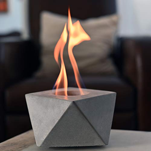 COLSEN Square Tabletop Rubbing Alcohol Fireplace Indoor Outdoor Fire Pit Portable Fire Concrete Bowl...