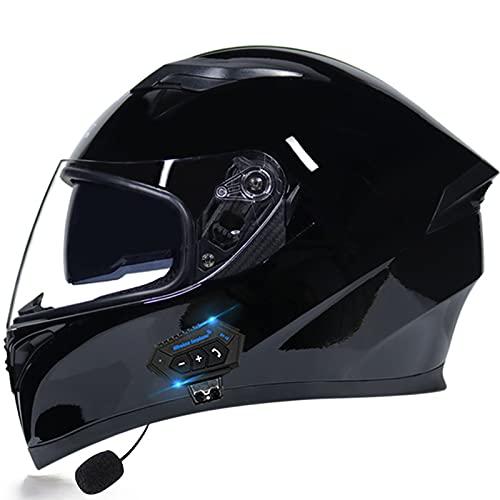 ABDOMINAL WHEEL Casco De Moto Modular Bluetooth Integrado Cascos Masculinos Y Femeninos con Función De Respuesta Automática con Certificación ECE con Gafas De Protección Solar Dual A,M=55~57CM