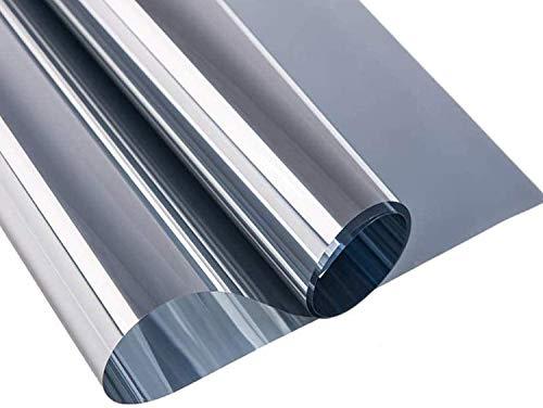 All--In Spiegelfolie Selbstklebend Sonnenschutzfolie Sichtschutzfolie Fensterfolie Sichtschutz Spiegel Folie Wärmeisolierung UV-Schutz für Fenster Silber, 90 x 400cm