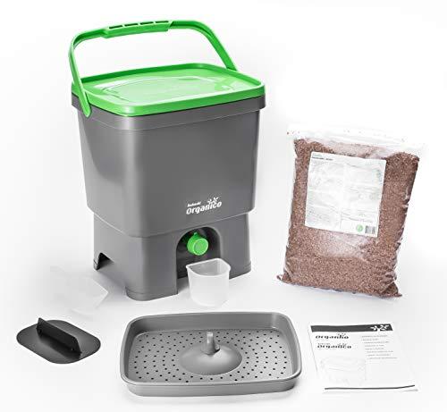 Skaza - Mind Your Eco Organico Bokashi Pattumiera Con Biogen Per Compost Per Rifiuti Da Cucina, Per Eliminare I Microrganismi (Bianco/Lime)