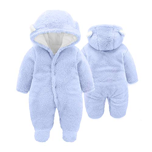 XMWEALTHY Baby Cloth Winter Coats Unisex Newborn Cute Jumpsuit Romper Coats Outfits Light Blue S