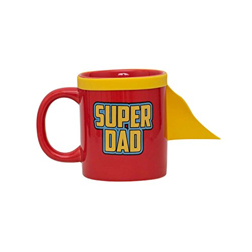 Thumbs Up Tasse Super Dad Mug-inklusiv Superheldenumhang, Keramik, rot, 0 cm