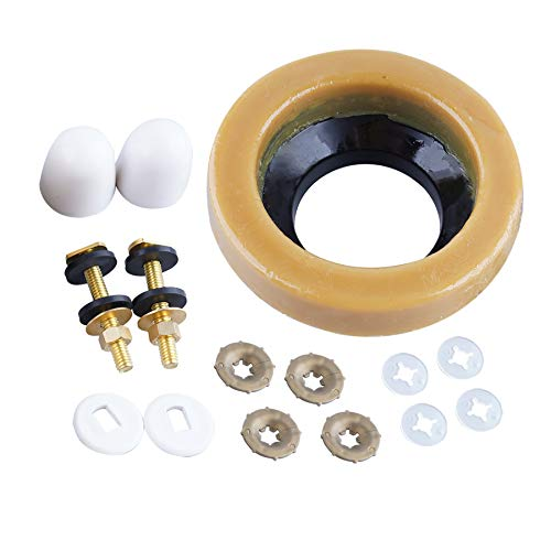 Toilet Wax Ring Kit with Brass Bolts, Bolt Caps, Thick Flange and Toilet Bowl Wax Gasket Seal for Floor Outlet Toilets New Install or Re-seat, Fits 3-inch or 4-inch Waste Lines