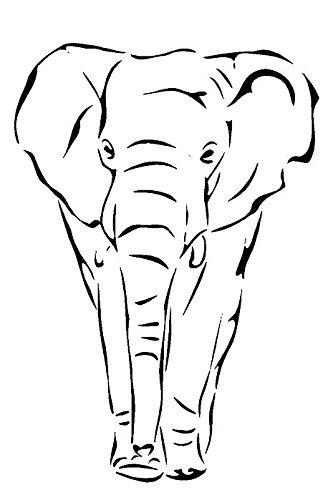 Schablone, A5 / A4 / A3,Motiv: Elefant, aus Mylar, 125 / 190Micron, wiederverwendbar., A5 125 micron