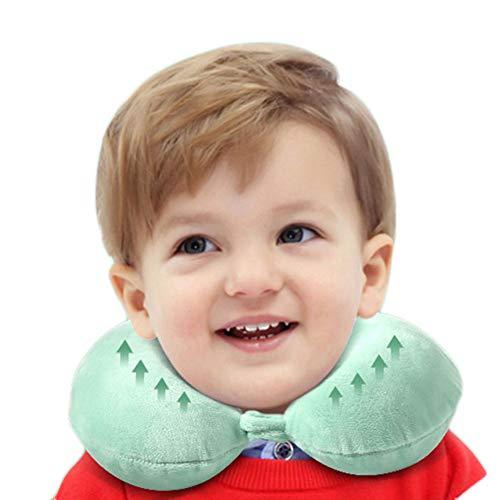 JUNBABY Oreiller d'allaitement et de Sommeil pour bébé Design Ergonomique Enfant Positionneur de Sommeil pour Le Cou Coton Organique Respirant Air Mesh Parfait pour Poussette, siège Auto-Green