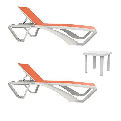 resol set de 2 tumbonas jardín exterior Marina estructura blanca, textilene naranja y 1 mesa auxiliar Andorra blanca