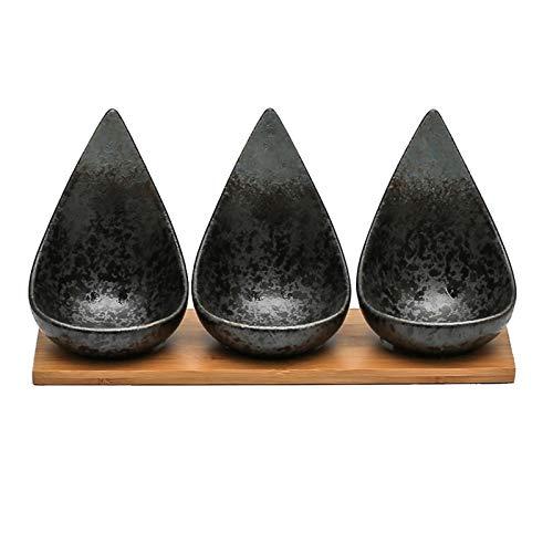 Cuencos Aperitivo Placas de salsa de forma de gota con bandeja de bambú de cerámica estilo japonés de soja vinagre de soja placa de inmersión platillo platillo plato ketchup bowles Salsa Cuencos