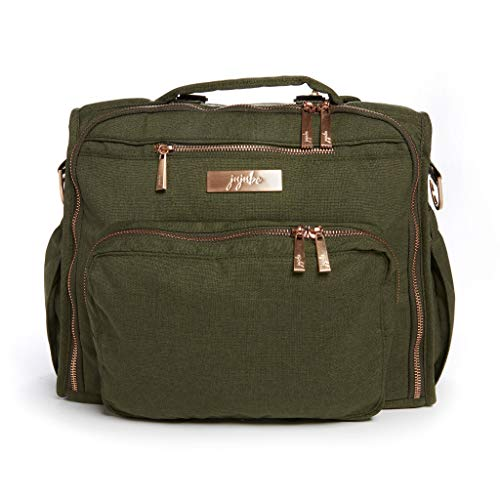 JuJuBe BFF Diaper Backpack | Olive | Chromatics | Multi-Functional Convertible + Messenger Bag | Travel-Friendly, Stylish Diaper Baby Bag with Laptop Pocket & Memory Foam Shoulder Strap