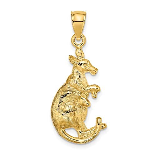 14 Karat Gold Känguru mit Baby in Tasche 2D Charm Anhänger Halskette Schmuck Geschenke für Frauen