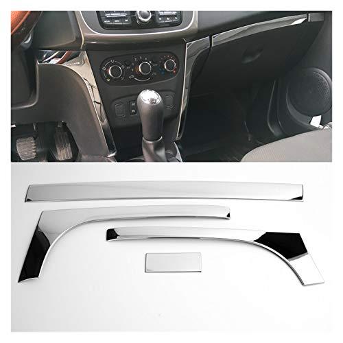 GIS 4 unids Acero Inoxidable Interior Delantero Dash Dash Cubra Trims ADJORAL para Renault Dacia SANDERO II Logan 2 STEPWAY 2014 2015 2016-2020