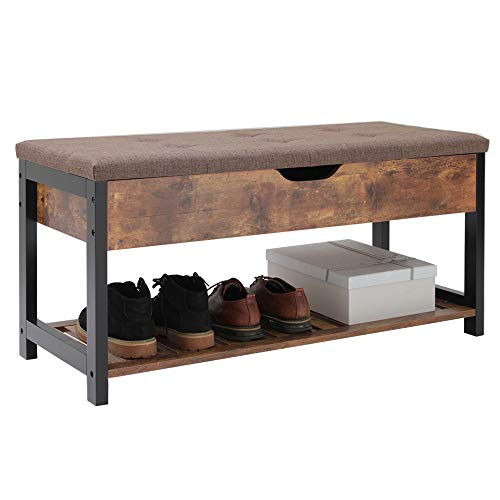 USIKEY-Shoe-Bench-with-Storage-Shelf-Multifunctional-Storage-Bench-with-Padded-Cushion-Perfect-for-Entryway-Hallway-mudroom-Living-Room-and-Corridor-YHXD002F