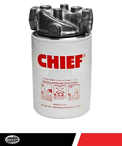 CHIEF Spin-On Filter Assembly: 25 Micron, 200 Max PSI, 20 GPM, 3/4'' NPTF Port Size, 15 PSI Bypass Valve, No Indicator Ports, 226007