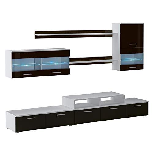 SelectionHome Mueble Salón, Comedor Moderno, Acabado en Blanco Mate y Negro Brillo Lacado, Medidas: 250 cm (Ancho) x 194 cm (Alto) x 42 cm (Fondo)