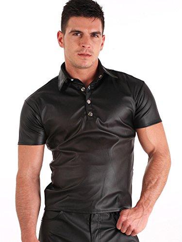 Honour Chemise en cuir pour homme Noir Taille L
