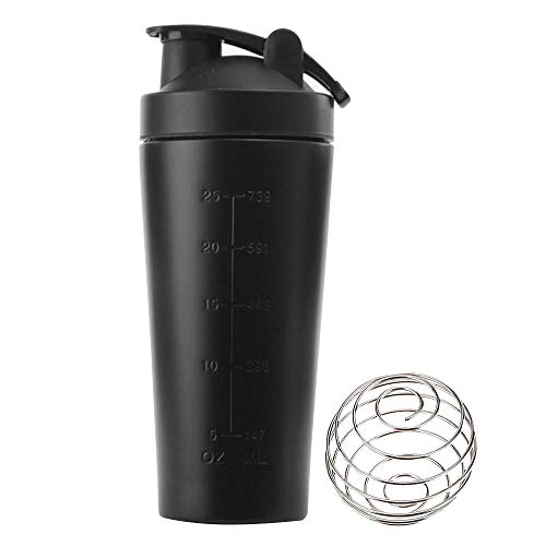 KAIYAN Stainless Steel Protein Powder Shaker Cup Protein Shaker 1L Large Capacity Diet Shakes Mixing Bottle Leak-Proof Fitness Shaker Training Water Bottle to Go Drinking Cup Black
