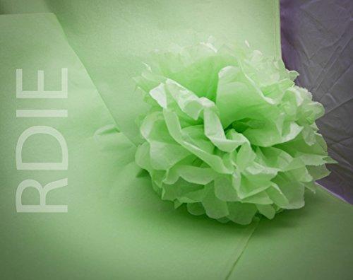 Kit für Wachskugeln 30Pompons von 20cm, entweder 240Blatt Seidenpapier Packseide, grün Greenery