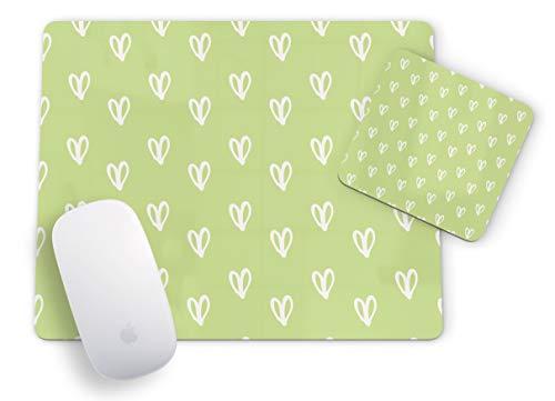 Mauspad und Untersetzer mit Schmetterlingsmotiv, rechteckig, Grün/Weiß