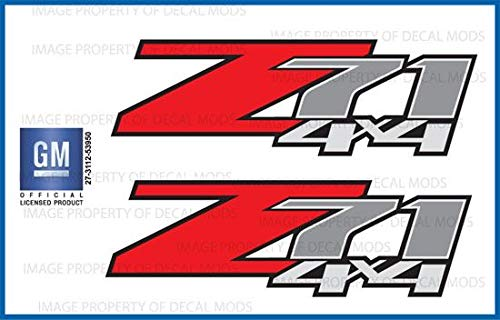 Decal Mods Z71 4x4 Decals Stickers fits Chevy Silverado (Dimensions 12.5' x 4') - F (2007-2013) Bed Side 1500 2500 HD (Set of 2) Officially Licensed
